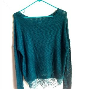 Royal Lacy Hem Turquoise Sweater